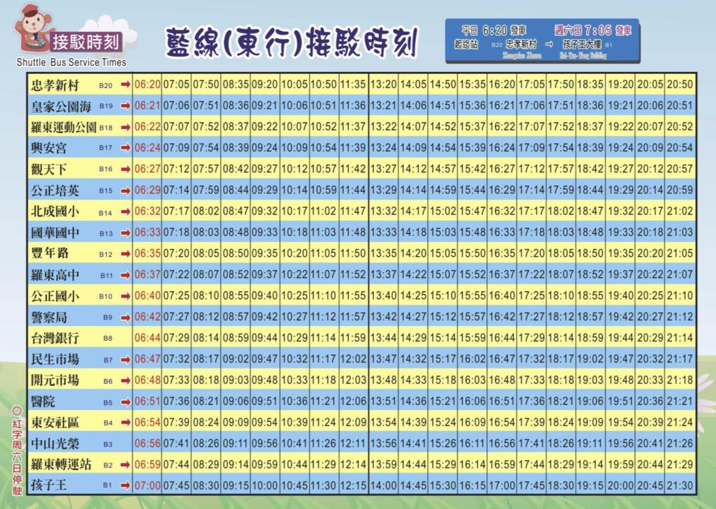 藍線東行公車時刻表